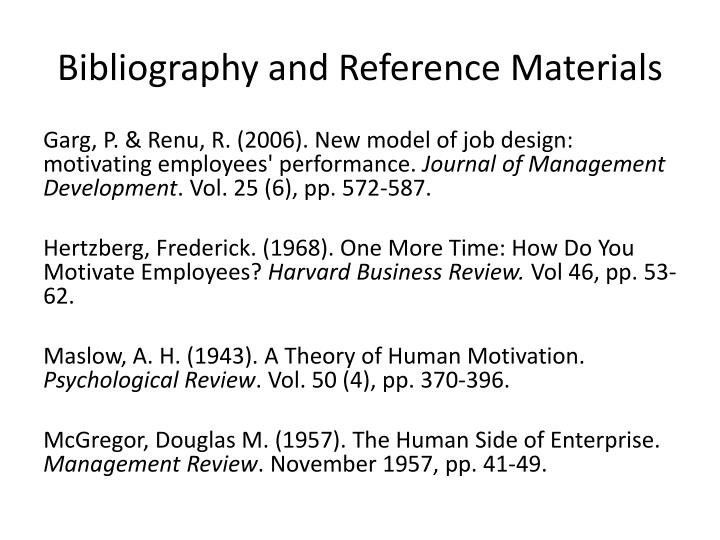 Bibliography and Reference Materials