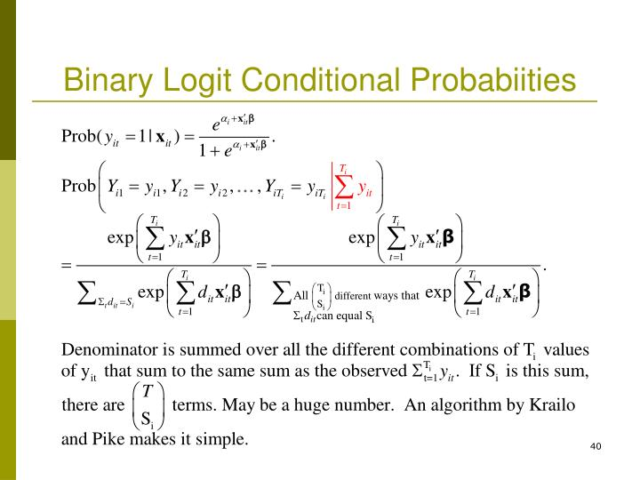 Binary Logit Conditional Probabiities