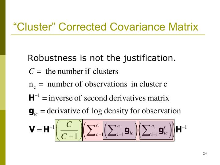 """Cluster"" Corrected Covariance Matrix"