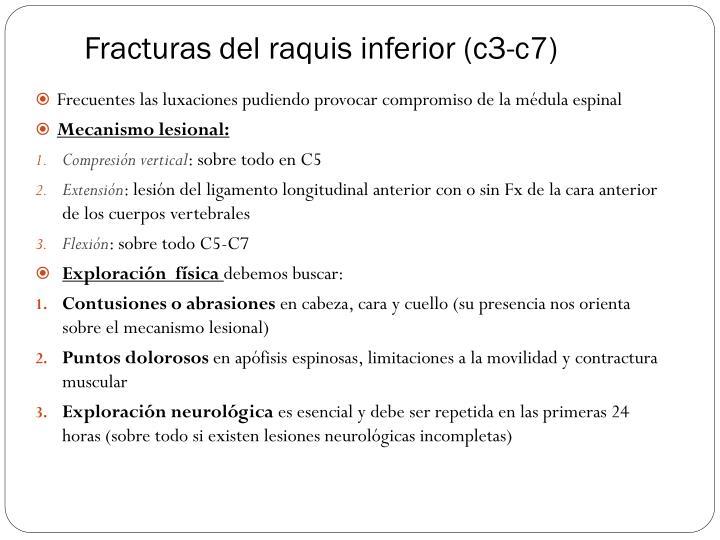 Fracturas del raquis inferior (c3-c7)