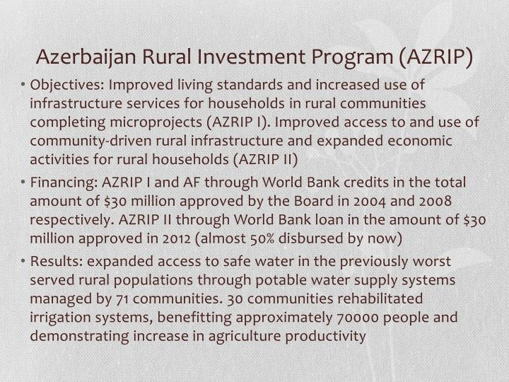 Azerbaijan Rural Investment Program (AZRIP)