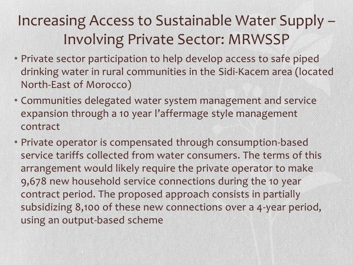 Increasing Access to Sustainable Water Supply – Involving Private Sector: MRWSSP