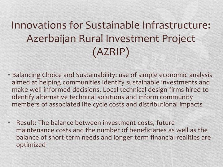 Innovations for Sustainable Infrastructure: Azerbaijan Rural Investment Project