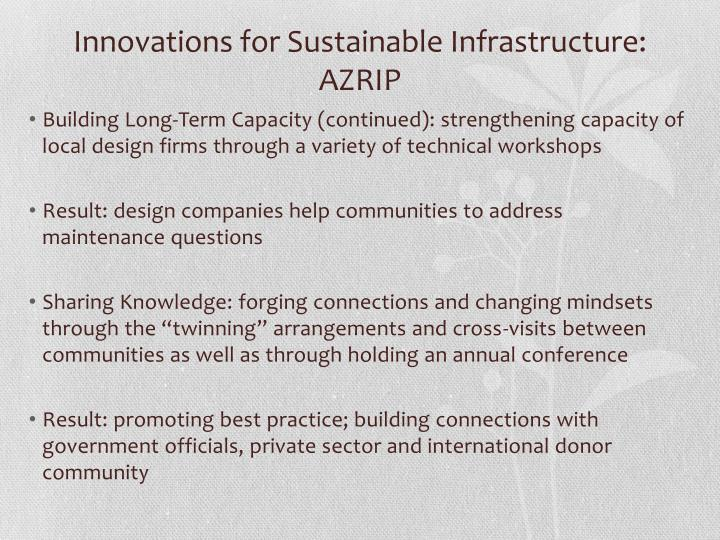Innovations for Sustainable Infrastructure: AZRIP