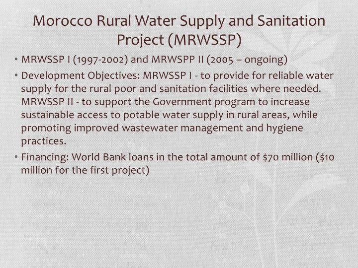 Morocco Rural Water Supply and Sanitation Project (MRWSSP)