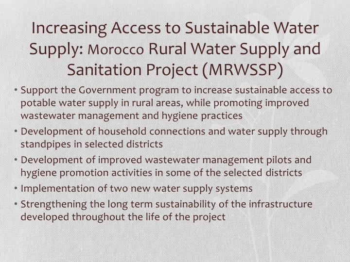 Increasing Access to Sustainable Water Supply: