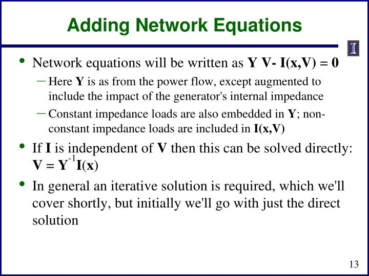 Adding Network Equations