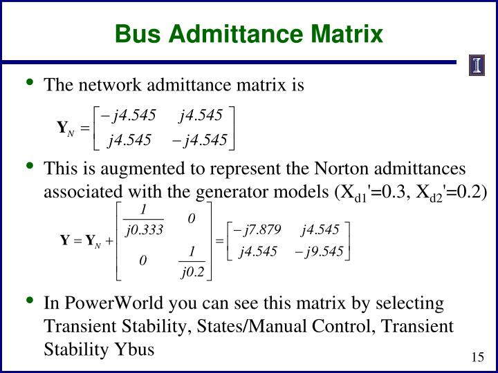 Bus Admittance Matrix