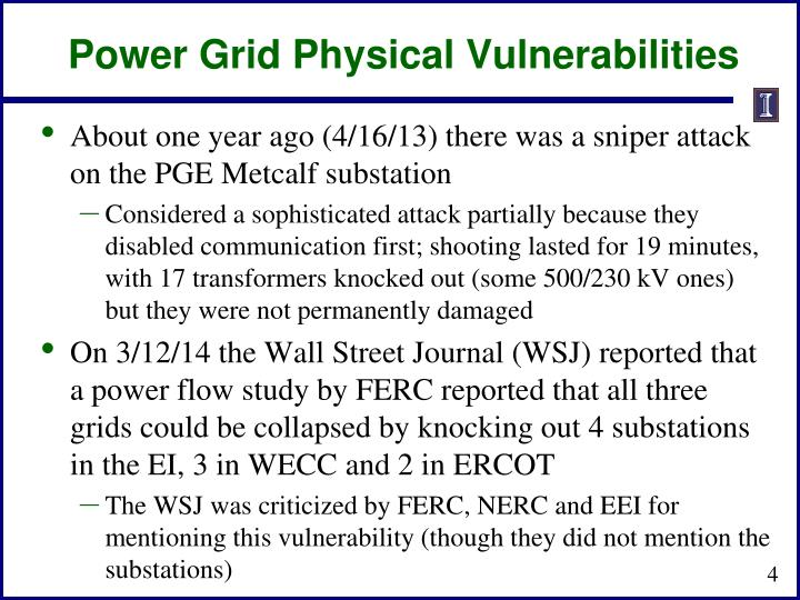 Power Grid Physical Vulnerabilities