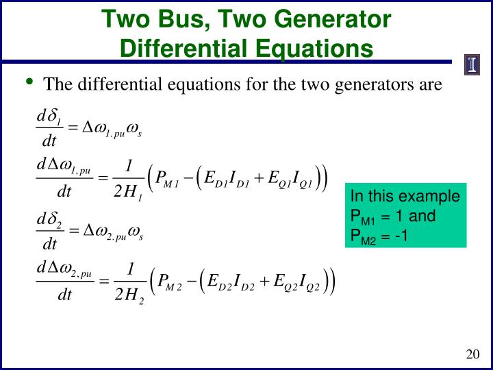 Two Bus, Two Generator Differential Equations