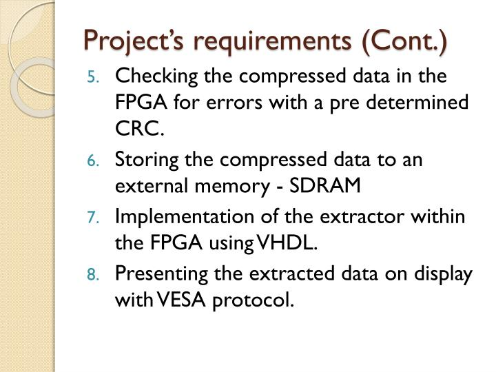 Project's requirements (Cont.)