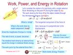 work power and energy in rotation