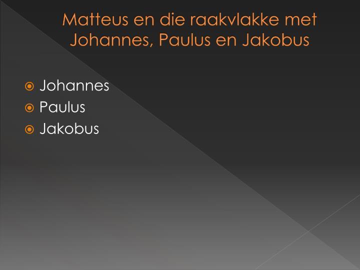Matteus en die raakvlakke met Johannes, Paulus en Jakobus