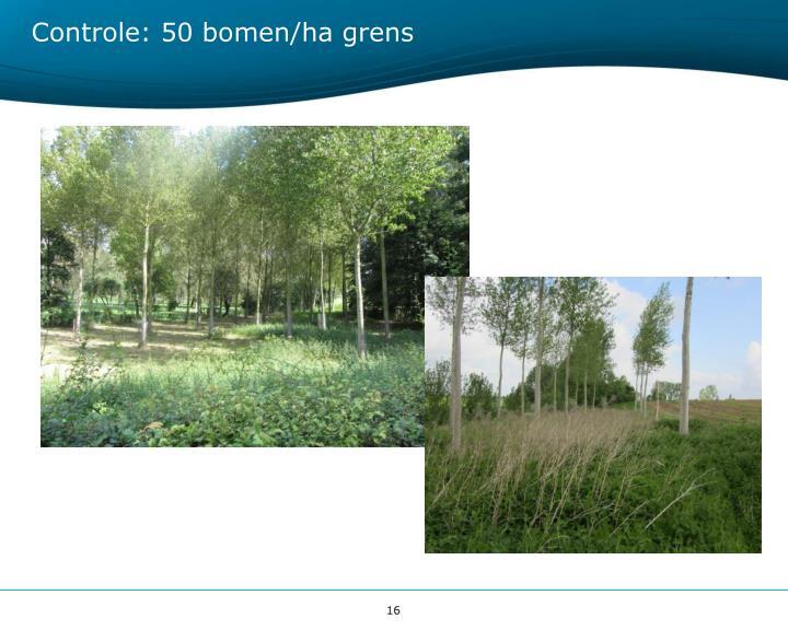 Controle: 50 bomen/ha grens