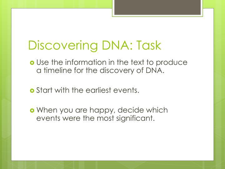 Discovering DNA: Task