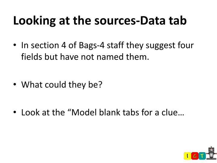 Looking at the sources-Data tab