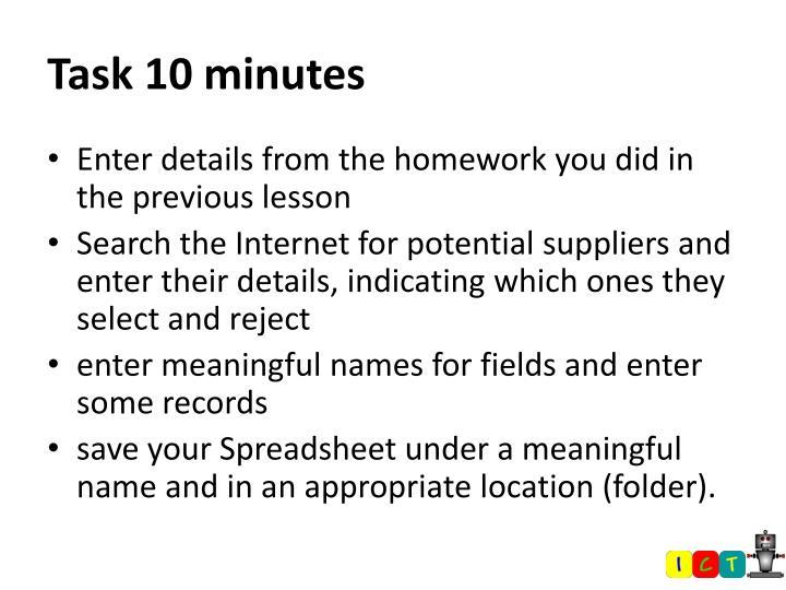 Task 10 minutes