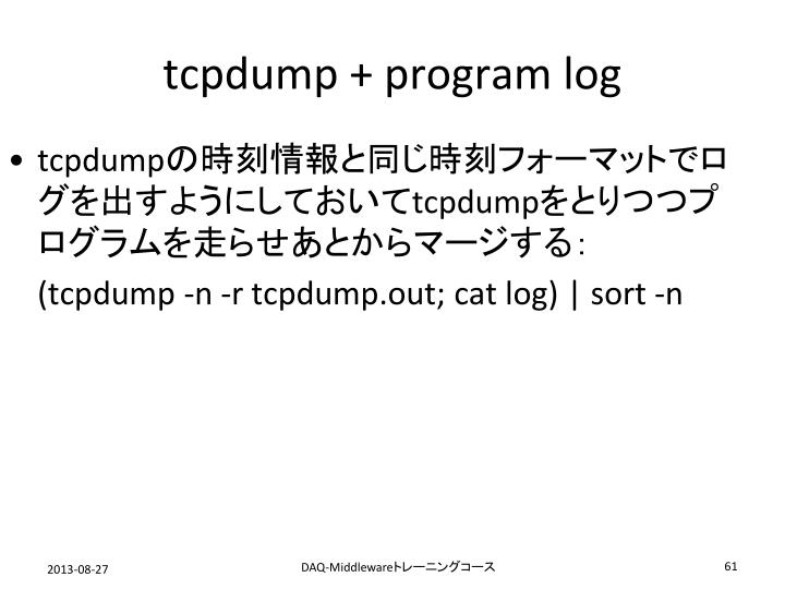 tcpdump + program log
