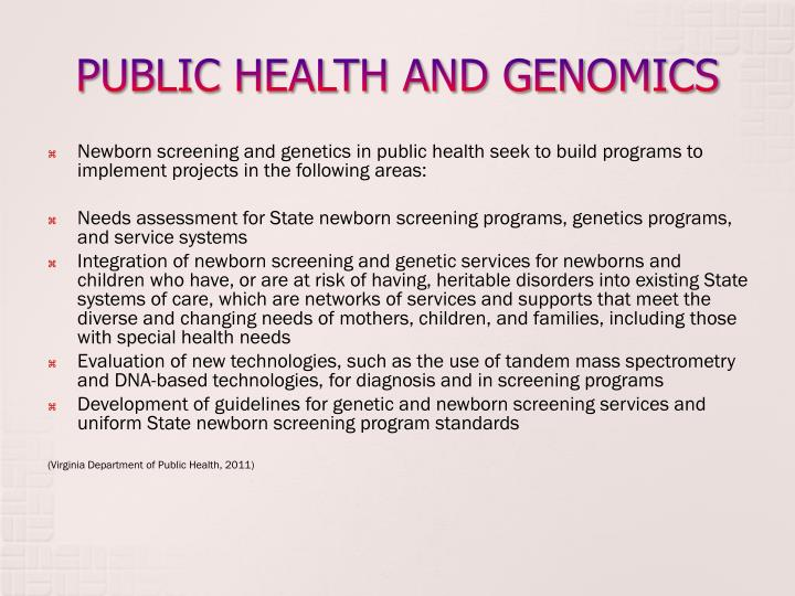 PUBLIC HEALTH AND GENOMICS