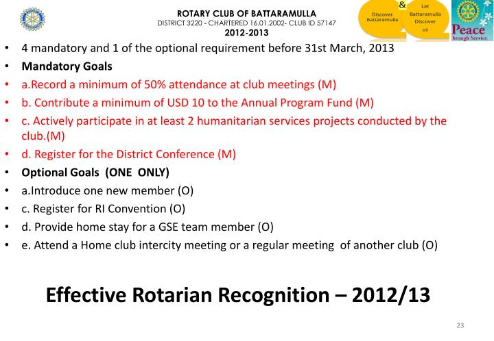 Effective Rotarian Recognition –