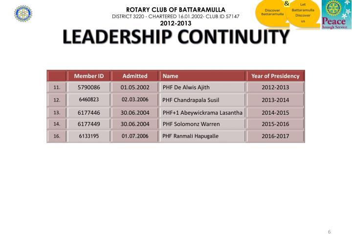 LEADERSHIP CONTINUITY
