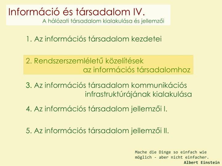 Információ és társadalom IV.