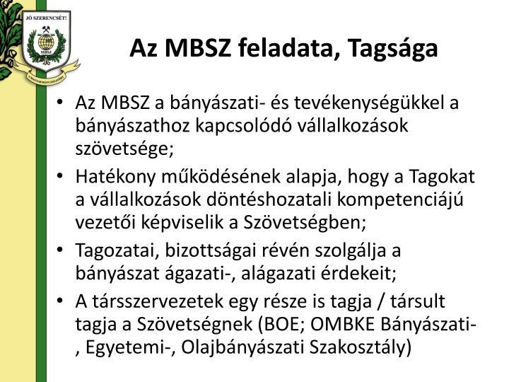 Az MBSZ feladata, Tagsága