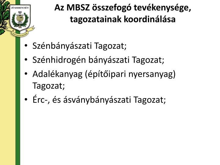 Az MBSZ összefogó tevékenysége, tagozatainak koordinálása
