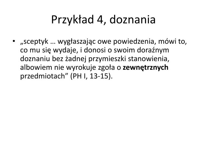 Przykład 4, doznania