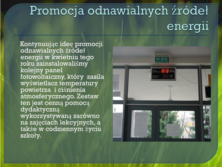 Promocja odnawialnych źródeł energii