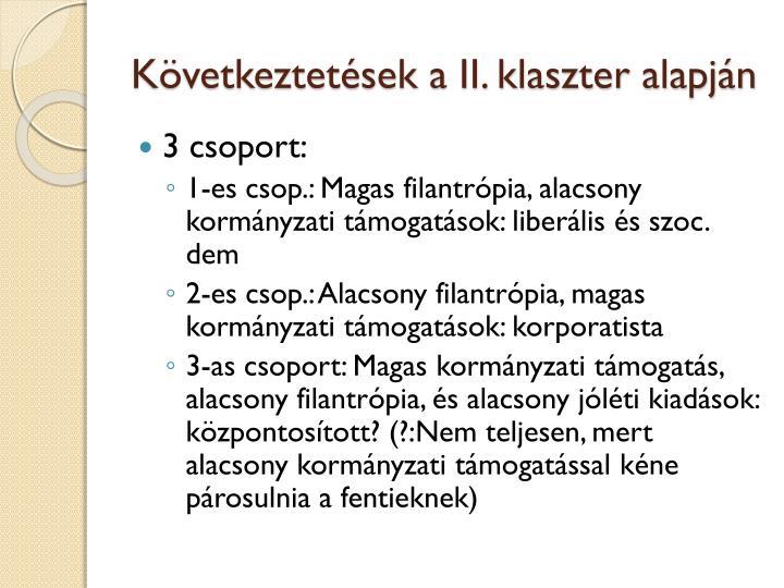Következtetések a II. klaszter alapján