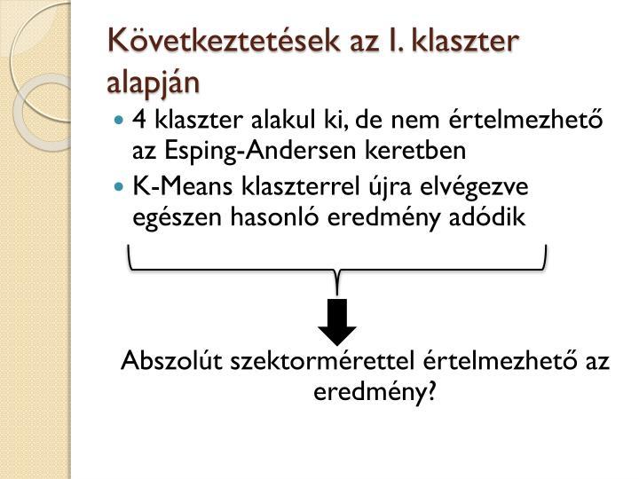 Következtetések az I. klaszter alapján