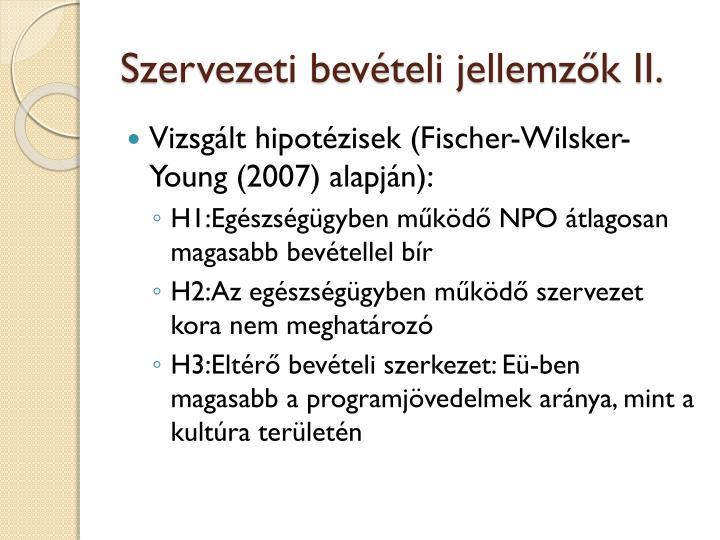 Szervezeti bevételi jellemzők II.
