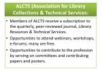 alcts association for library collections technical services