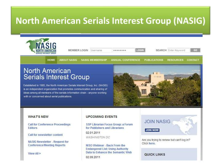 North American Serials Interest Group (NASIG)