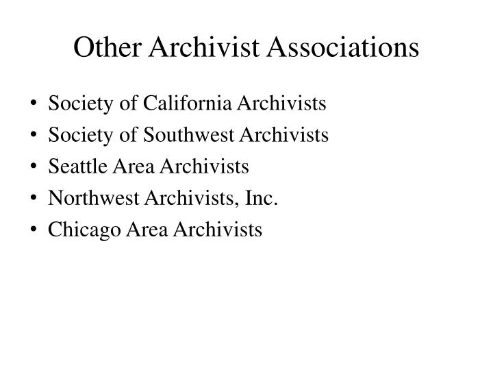 Other Archivist Associations