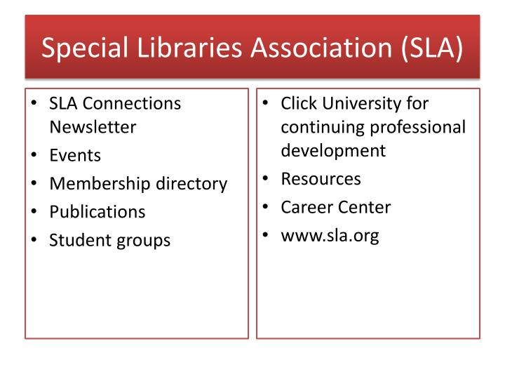 Special Libraries Association (SLA)