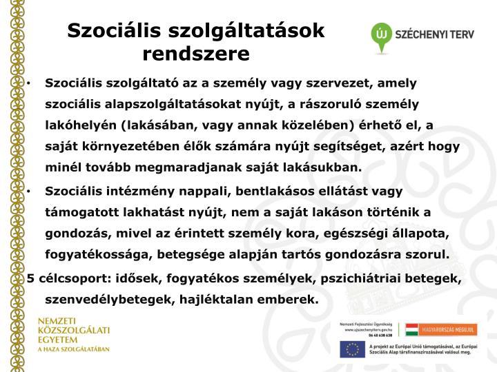 Szociális szolgáltatások