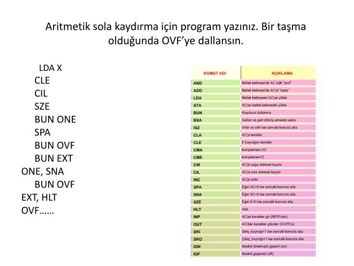 Aritmetik sola kaydırma için program yazınız. Bir taşma olduğunda OVF'ye dallansın.