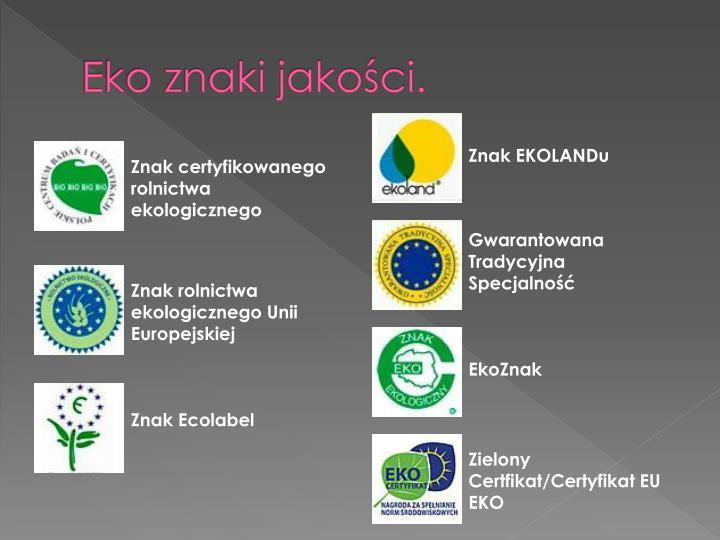 Eko znaki jakości.