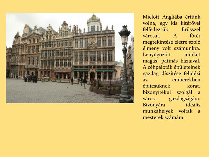 Mielőtt Angliába értünk volna, egy kis kitérővel felfedeztük Brüsszel városát. A főtér megtekintése életre szóló élmény volt számunkra. Lenyűgözött minket magas, patinás házaival. A céhpaloták épületeinek gazdag díszítése felidézi az emberekben építésüknek korát, bizonyítékul szolgál a város gazdagságára. Bizonyára ideális munkahelyek voltak a mesterek számára.