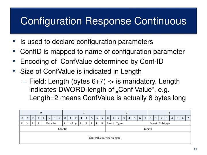 Configuration Response Continuous