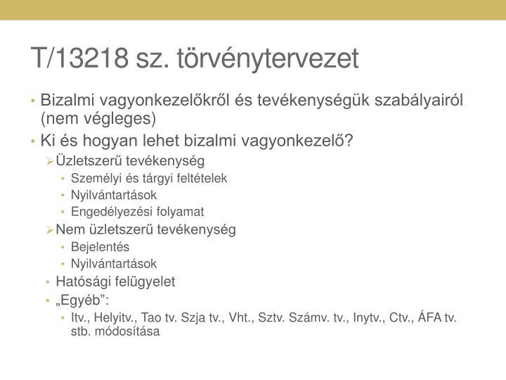 T/13218 sz. törvénytervezet