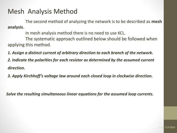 Mesh  Analysis Method