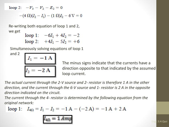 Re-writing both equation of loop 1 and 2, we get
