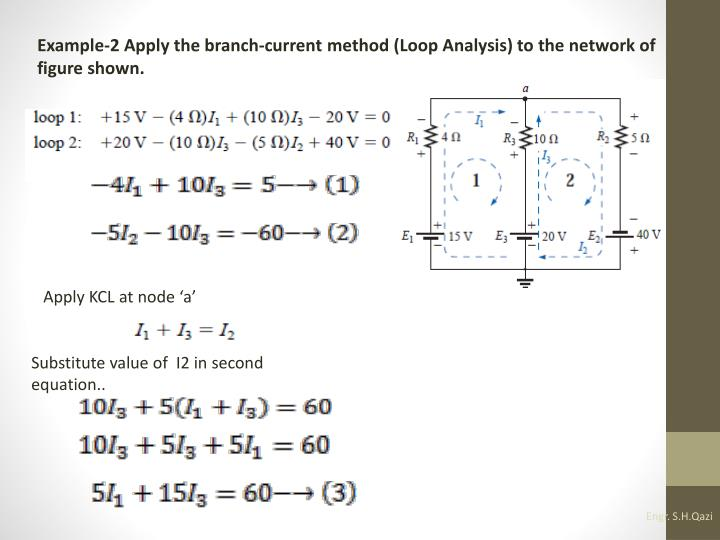 Example-2 Apply the branch-current method (Loop Analysis) to the network of