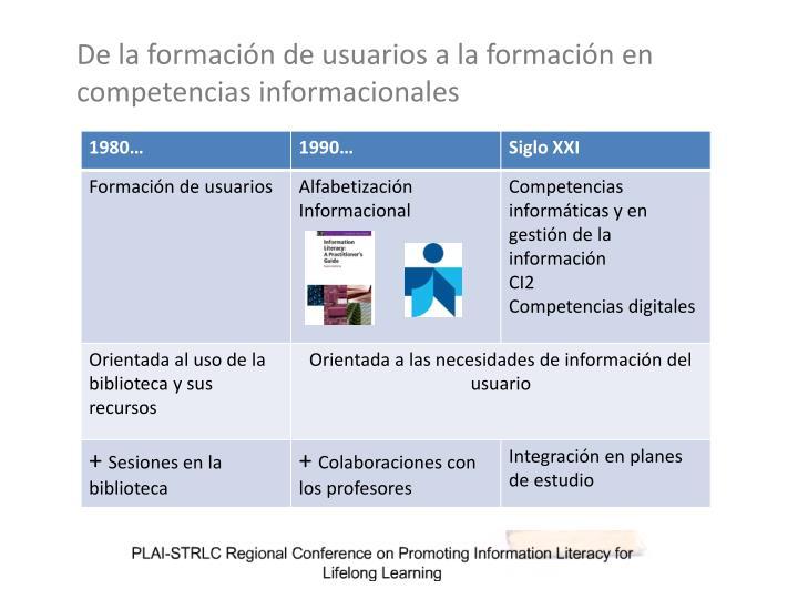 De la formación de usuarios a la formación en competencias informacionales