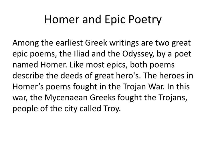 Homer and epic poetry