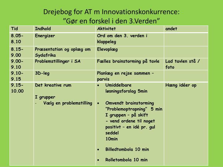 Drejebog for AT m Innovationskonkurrence: