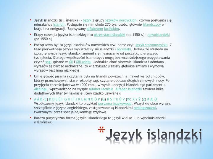 Język islandzki (isl. íslenska) -